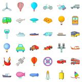 Driving icons set, cartoon style Stock Photos