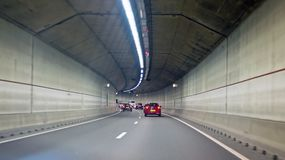 Driving in the IJtunnel in Amsterdam Netherlands. Driving in the IJtunnel in Amsterdam the Netherlands Royalty Free Stock Image