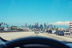 Free Driving In A Car Towards Downtown Los Angeles. A Big Copy Space For A Message. Sunny Day In LA. Royalty Free Stock Photography - 122092247