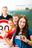 Driving instructor with his class Stock Image