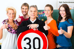 Driving instructor with his class stock photos