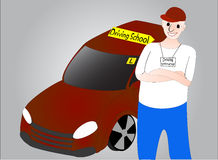 Driving Instructor. A picture of a generic Driving Instructor with a car next to him Royalty Free Stock Images