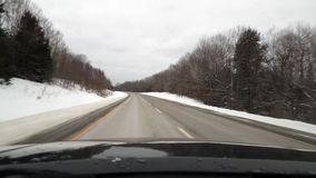 Driving on Interstate in North East During Winter stock video footage