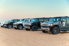 Driving on jeeps Desert Safari Royalty Free Stock Images