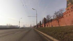 Driving by Kremlin embankment stock video footage