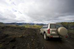 Driving in Landmannarlaugar royalty free stock image