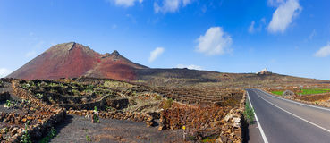 Driving in lanzarote with view... Royalty Free Stock Images