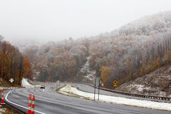 Driving in the late fall  through West Virginia Stock Photo