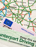 Driving Licence on Map Royalty Free Stock Images