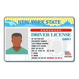 Driving license for new york icon, flat style. stock illustration