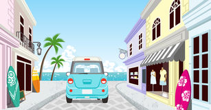 Driving Light blue car in the Seaside town -  EPS10 Stock Images