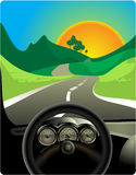 Driving on long road stock illustration