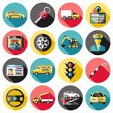 Driving Long Shadow Icons Set Stock Photos