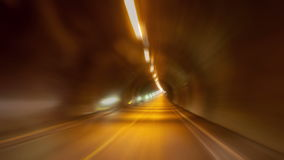 Driving through a Long Tunnel. Timelapse, 4K stock video footage