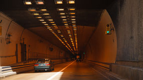 Driving Into Merrimac Memorial Bridge Tunnel Royalty Free Stock Photography