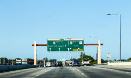 Driving the Miami Highway from the airport direction East Royalty Free Stock Photo
