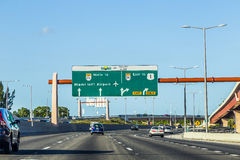 Driving the Miami Highway from the airport direction East Royalty Free Stock Images