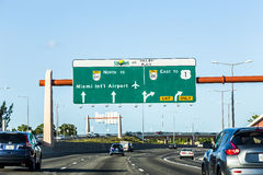 Driving the Miami Highway from the airport direction East Stock Images
