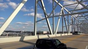 Driving on a modern steel bridge to Newport Kentucky  - NEWPORT, Kentucky United States. Driving on a modern steel bridge to Newport Kentucky  - NEWPORT stock video