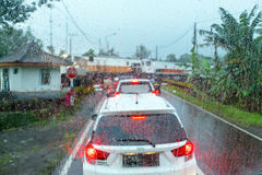 Driving in the monsoon in Java Indonesia Stock Image