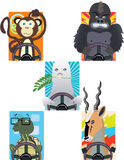 Driving Moods. Group of animals driving representing human moods Royalty Free Stock Image