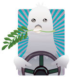 Driving Moods - Dove. A dove driving a car representing a peaceful driver Royalty Free Stock Photo