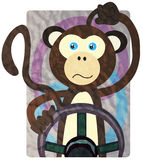 Driving Moods - Monkey. A flustered monkey driving a car representing a confused driver Stock Image
