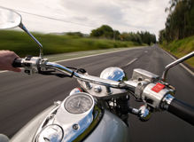 Driving a motorcycle. On the road Royalty Free Stock Photos