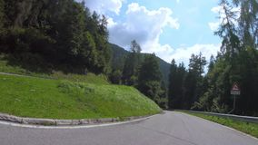 Driving in mountain road. Dolomites of Trentino Alto Adige stock footage