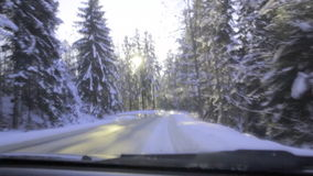 Driving on a mountain road stock video footage