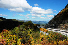 Driving in the mountains. Mountain drive in North Carolina during the fall Stock Photography