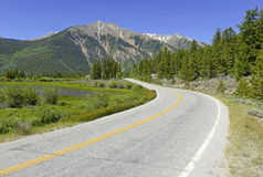 Driving in the mountains, Colorado Stock Photo