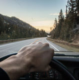 Driving through the Mountains Royalty Free Stock Photos