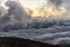Landscape at dusk, Reunion Island Indian Ocean Royalty Free Stock Photo