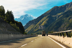 Driving in mountains Royalty Free Stock Image