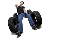 Driving new tires Stock Image