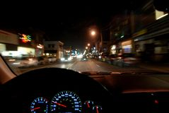 Driving at night Stock Image