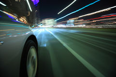 Driving in the night city Royalty Free Stock Photo