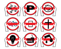 Driving Not Allow Forbidden Signs Logo Icons Stock Photos