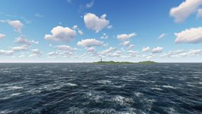 Driving on the ocean and stopped at the destination - the lighthouse stock footage