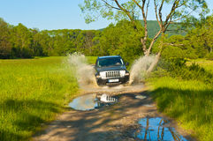 Driving off-road car in the clearings Royalty Free Stock Image
