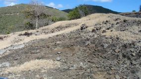 Driving off-road on the windward side of an island in the grenadines stock video