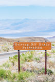 Driving Off Roads Prohibited sign Stock Photo