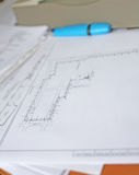 Driving on the office desk. The drawings, the circuit on the office desk Stock Photo