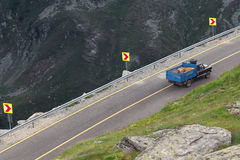 Driving a old suv on Transalpina highway Stock Photo