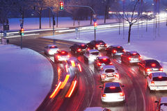 Driving On Snowy Road Royalty Free Stock Photos