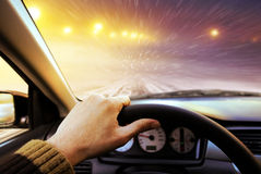 Driving On Winter Road Stock Photography