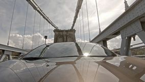 Driving over the Menai Bridge in North Wales towards Anglesey - United Kingdom.  stock video footage