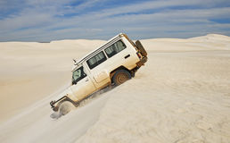 Driving Over Sand Dunes Stock Photography