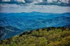 Driving by overlooks along blue ridge  parkway Stock Photography